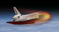 Space Shuttle re-entry into atmosphere creating excessive heat on heat tiles Stock Footage