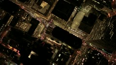 Aerial night vertical view of skyscrapers in a  Metropolis, USA Stock Footage