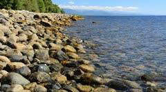 Beautiful stone seashore. Stock Footage