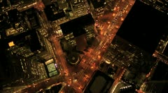 Stock Video Footage of Aerial night vertical view of lights on skyscrapers, USA