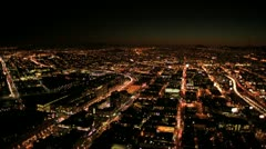 Stock Video Footage of Aerial night illuminated cityscape view of rolling city streets, San Francisco,