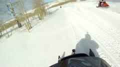 Snowmobile family fun P HD 0025 Stock Footage