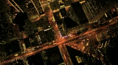 Aerial night vertical view of Skyscraper lights, USA Stock Footage