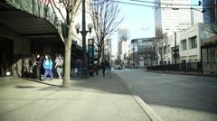 City sidewalk. Crane shot.  Stock Footage