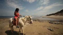 Woman With Horse At Summer-Beach Stock Footage