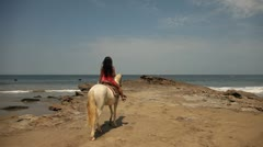 Woman Riding White Horse At Ocean Stock Footage