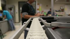 Stock Video Footage of POV Conveyor belt assembly line 4