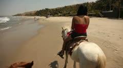 Woman riding Horse POV Stock Footage