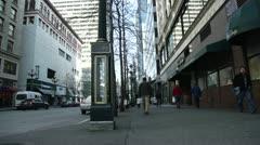 City sidewalk street. Crane street.  Stock Footage