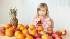 Child drinking juice and showing Ok! Stock Footage