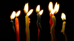 Color candles burning, timelapse. Stock Footage