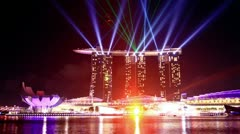 Laser show in Singapore. time lapse Stock Footage