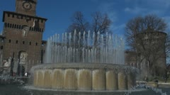 Sforza Castle and artesian well, Milan, Italy - stock footage