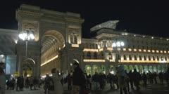 Galleria Vittorio Emanuele II by night Stock Footage