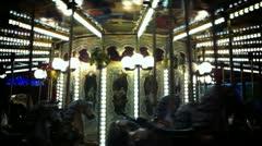 Carousel at night Stock Footage