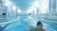 Training of athletes in the pool Stock Footage