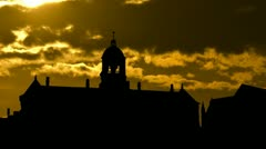 Nederland Royal Palace sunset Stock Footage