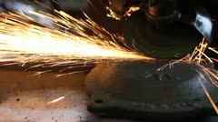 Men at work grinding steel Stock Footage
