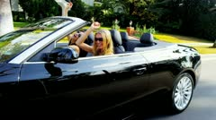 Stock Video Footage of Girls Singing Laughing in Luxury Convertible