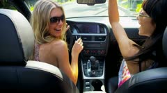 Girlfriends with Their Luxury Car Stock Footage