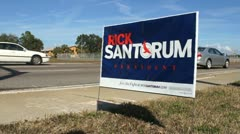 Rick Santorum Campaign Sign 01 Stock Footage