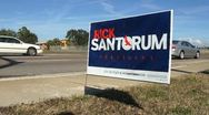 Stock Video Footage of Rick Santorum Campaign Sign 01