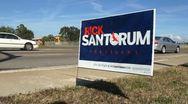 Rick Santorum Campaign Sign 01 Stock Footage