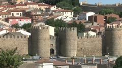 Avila Spain walls and town zooms out Stock Footage