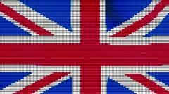 UK flag on old style degital billboard Stock Footage
