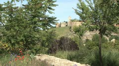 Avila Spain walls and trees Stock Footage