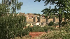 Avila Spain walls framed with trees good Stock Footage
