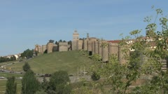 Avila Spain walls with branch Stock Footage