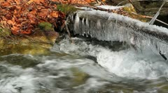 Winter scene of mountain river.+sound Stock Footage