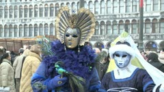 Masked couple in venice on carnival Stock Footage