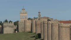Avila Spain walls zooms out from gate Stock Footage