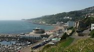 Stock Video Footage of English coast town wide shot