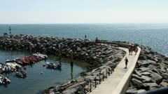 Ocean and harbor wall - stock footage