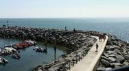 Stock Video Footage of Ocean and harbor wall