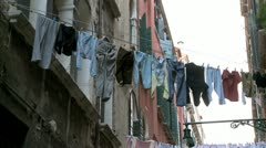 Clothes on washing line Stock Footage
