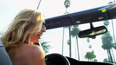 Laughing Girls Driving on Vacation Stock Footage