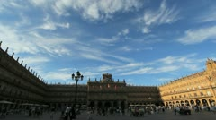 Spain Salamanca Plaza Mayor with clouds Stock Footage