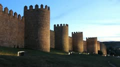 Avila Spain walls at night Stock Footage