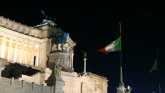 Victor Emmanuel II monument in Rome, Italy at night Stock Footage