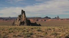 Arizona Navajo Reservation landscape with rock spikes sx Stock Footage