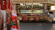 Food stands and souvenir apron in Rome Stock Footage