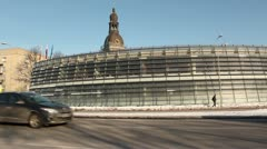 Winter city scenics with cars going by ProRes Stock Footage