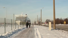 Winter port people walking ProRes Stock Footage