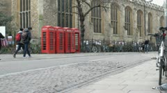 Red Telephone Boxes in Cambridge, UK Stock Footage