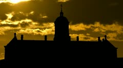 Netherlands Royal Palace golden sunset Stock Footage