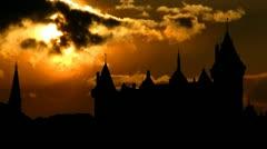 Netherlands Kasteel de Haar sunset Stock Footage